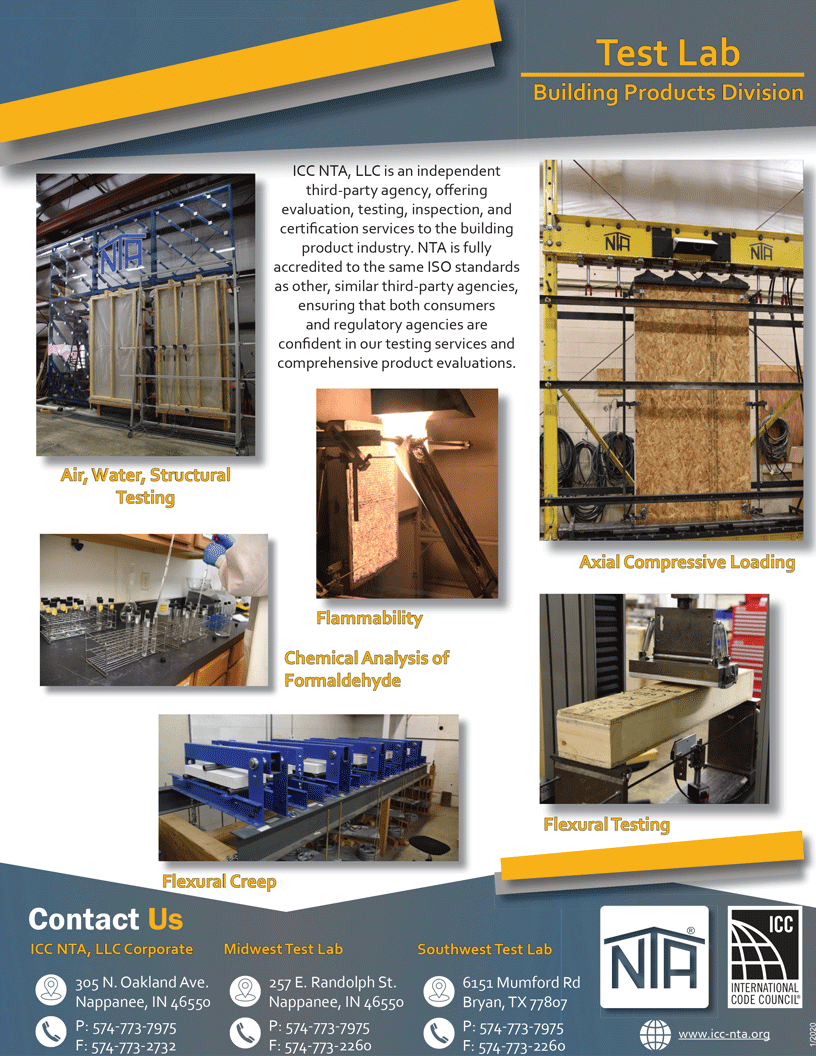 ICC NTA Building Products Test Lab Flyer